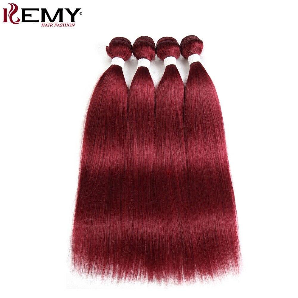 99J Burgundy Red Color Brazilian Straight Human Hair Weave Bundles KEMY HAIR 8 to 26 Inch