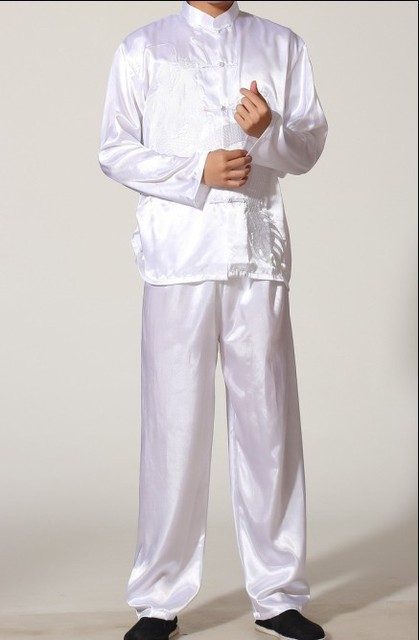 d53d950f48 White Chinese Men s Polyester Satin jacket Trousers Kung Fu Suit Pajama  Sets SIZE S M L XL XXL XXXL M0010
