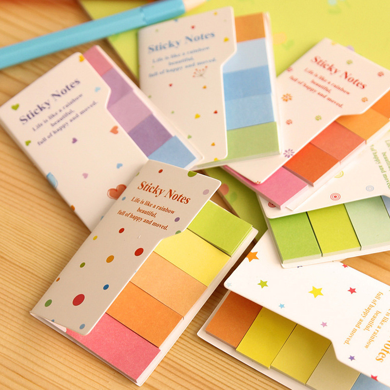 Hot Sale Cute Rainbow Colored Sticky Notes Memo Pads Bookmark Multi-Color Lovely Sticker Paper Notepad Notes Students Supplies