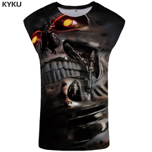 KYKU Brand Skull Tank Top Men Mechanical Ftness Clothing Funny Singlet Hip Hop Tanktop Mens Stringer Casual Sleeveless Shirt