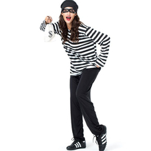 New Arrival Womens Prisoner Stripe Costume Halloween Adult Party Cosplay Clothing