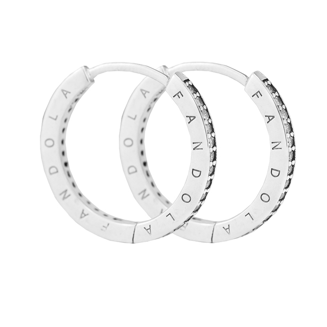 sparkling hoop earrings authentic 925 sterling silver hoop earrings for women  1pair/lot free shipping CKE033
