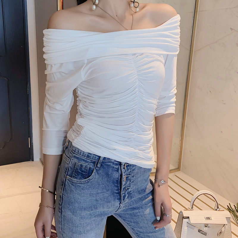Womens Casual Solid Slash Neck T-shirt Tops Blusa Summer Shirt Tees Clothes Cropped Wrap Draped Top Half Sleeve White T-shirt