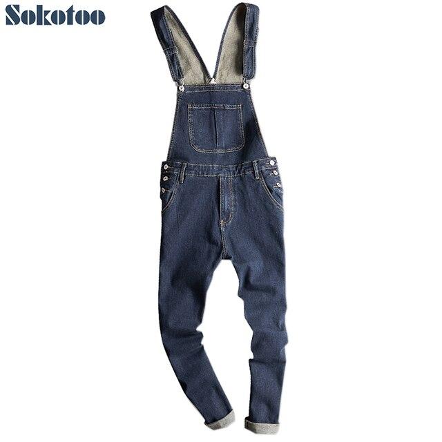 Sokotoo Men's dark blue denim bib overalls Slim fit jeans Casual pocket cargo pants Suspenders jumpsuits 1