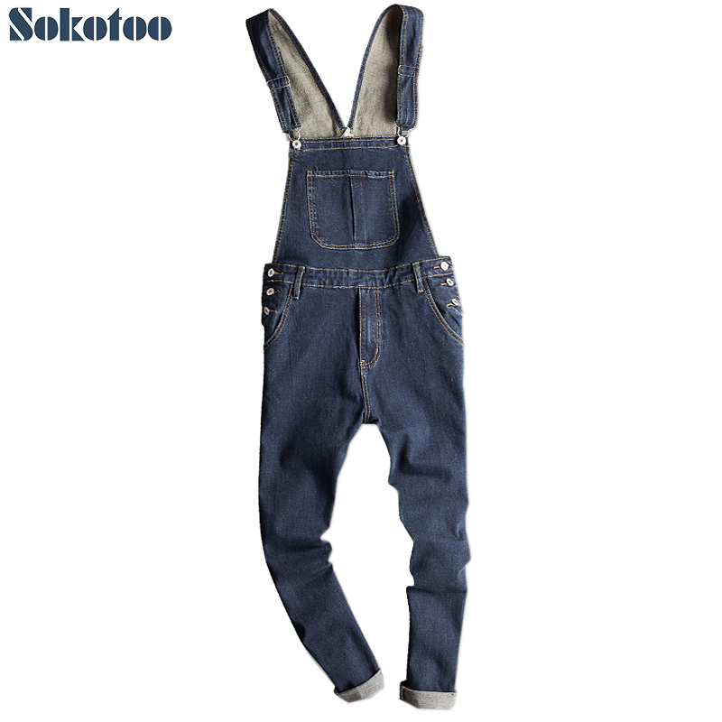 Sokotoo Men's dark blue denim bib overalls Slim fit   jeans   Casual pocket cargo pants Suspenders jumpsuits