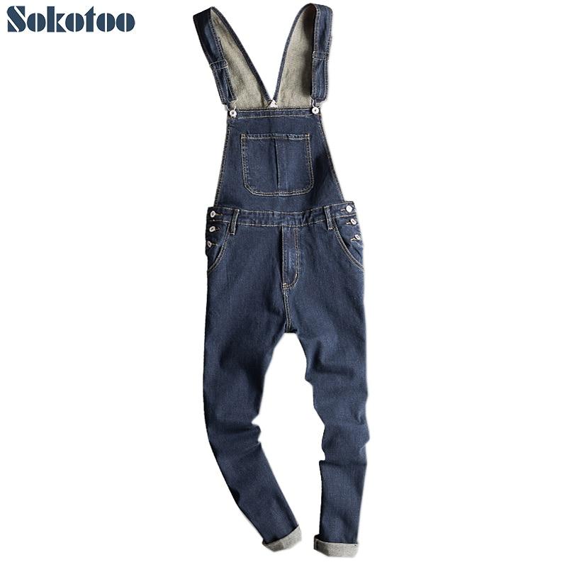 Sokotoo Men's Dark Blue Denim Bib Overalls Slim Fit Jeans Casual Pocket Cargo Pants Suspenders Jumpsuits