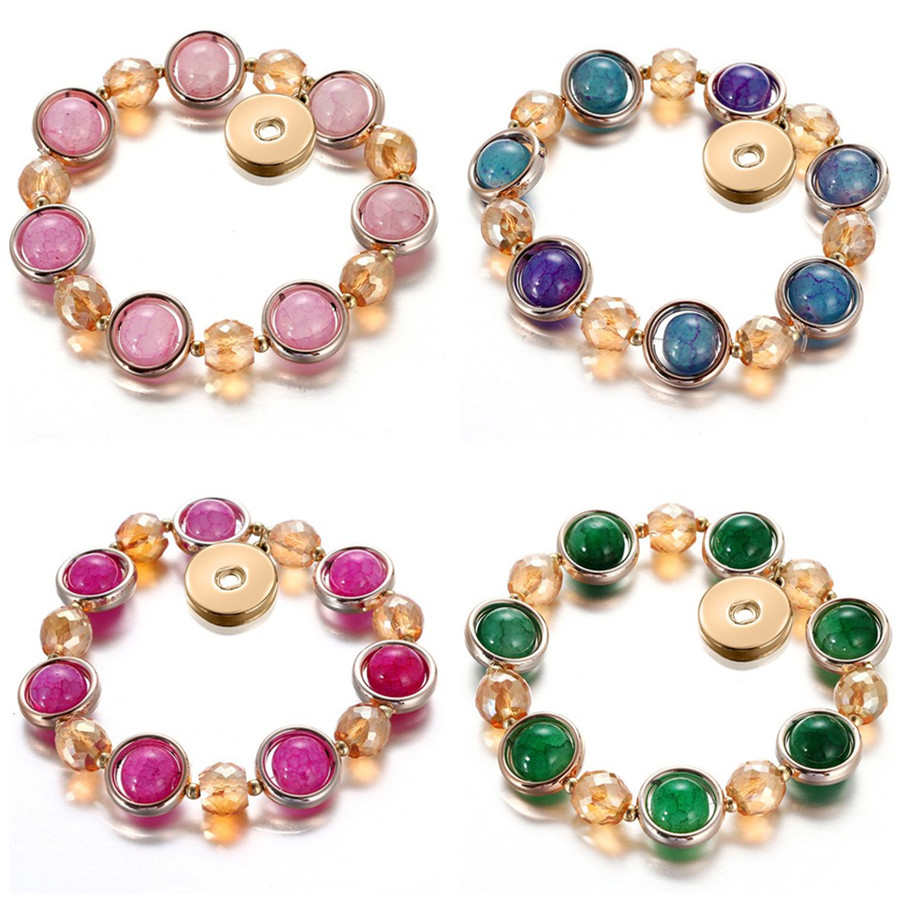 New Golden Style Fashion Glass beads Elastic snap bracelet golden snap buttons fit 18mm snap buttons DIY snap jewerly AB0073