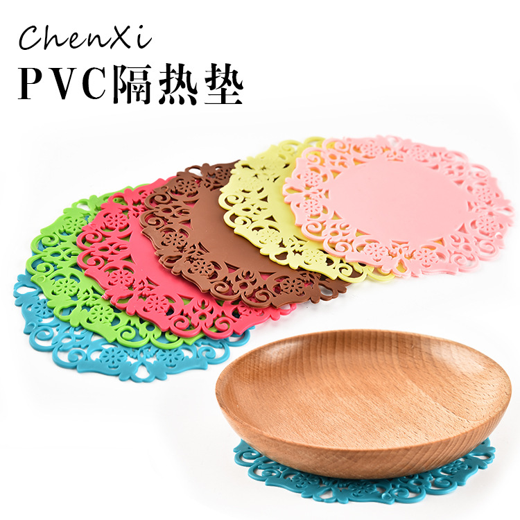 BEEMSK 6PCS household goods pvc placemats table portable insulation coasters silicone insulation pad COLOR RANDOM