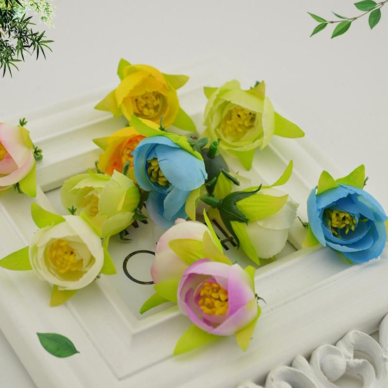 ᗐ20 Pcs Soie Mini Petit The Rose Fleur Artificielle Pour La