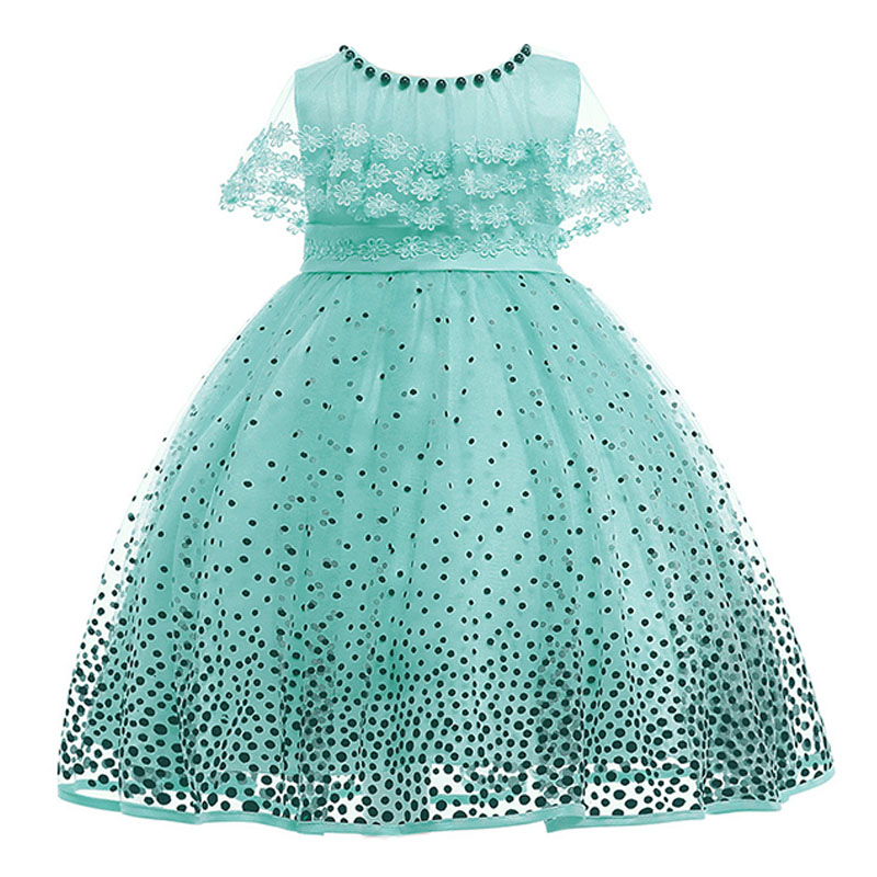 children clothing dot printed mesh   flower     girl     dresses   for wedding clothes first communion princess   dress   baby costume