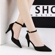 Woman office Pumps flock buckle High Heels Shoes Pointed toe