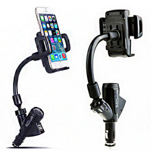 Universal Mobile Phone PDA PAD MP3/MP4 GPS Cigarette Lighter Dual USB Phone & Tablet Holder стоимость