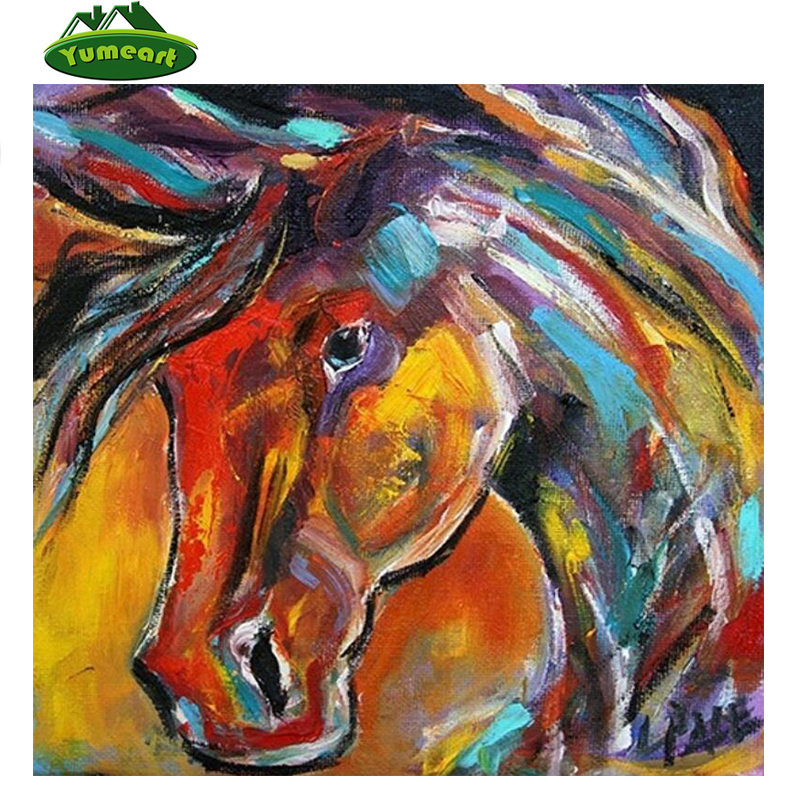 YUMEART Home Decor Diamond Painting By Number Horse Animal Cross Stitch YHAll Stickers & Murals Handmade Hobby Crafts