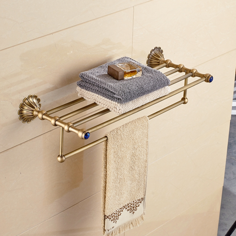 цена на Antique Brass Bathroom Shelf Wall Mounted Towel Storage Holder W/ Towel Bar NEW