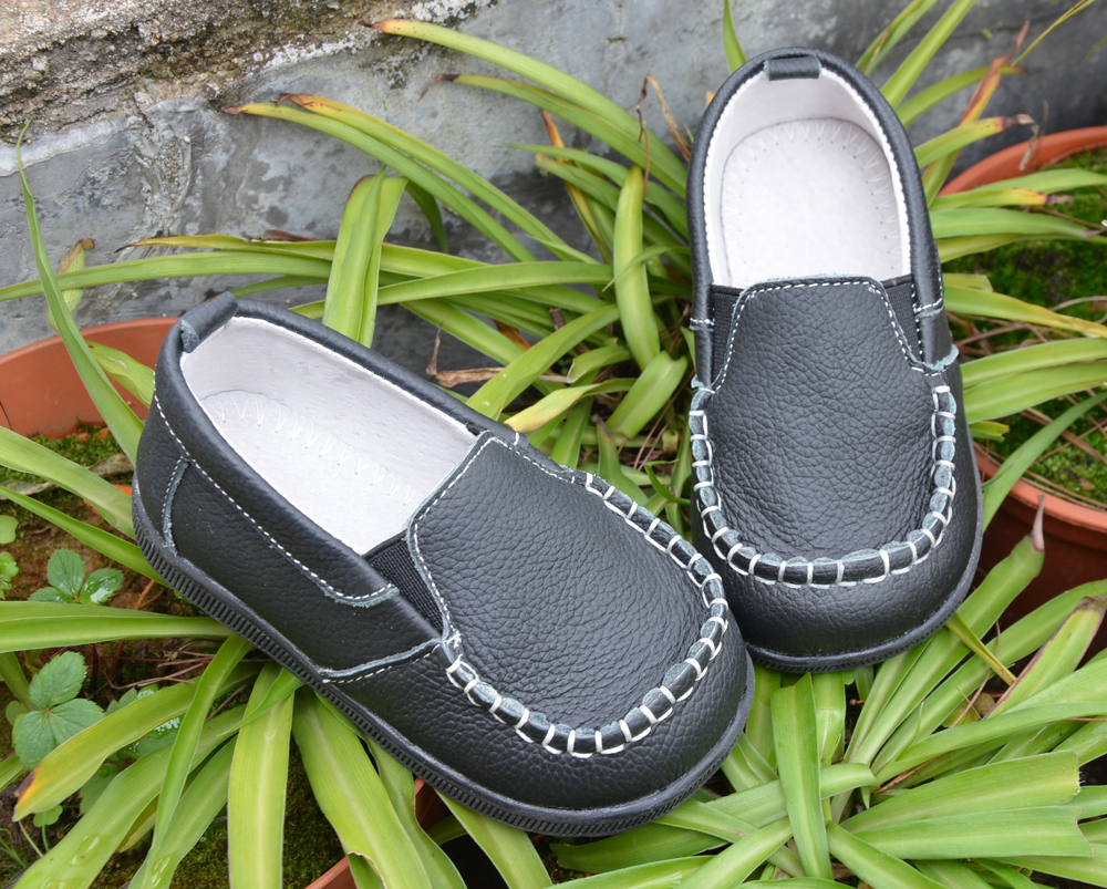 2014 Spring Autumn Children Unisex Leather Sneakers Slip On Shoes With Hook Mark Hand Stitching Retail