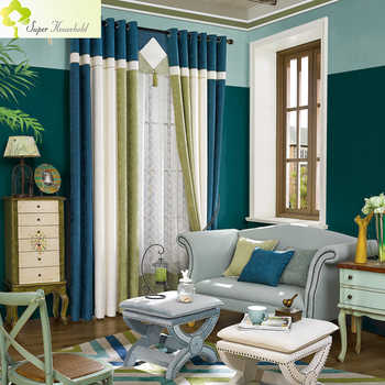 Modern Striped Curtains for Living Room Elegant Window Blackout Fabric for Bedroom Drapes Set Chenille Splicing Velvet Blinds - DISCOUNT ITEM  25% OFF All Category