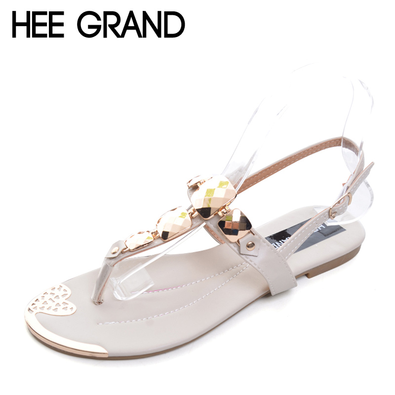 HEE GRAND 2017 T-Strap Sandals Bling Rhinestone Crystal Buckle Flats Shoes Woman Summer Style Women Shoes Size 36-41 XWZ1066 suede slingback 9 bling black women pointed toe large size summer flats rhinestone sandals ankle strap ladies beautiful shoes
