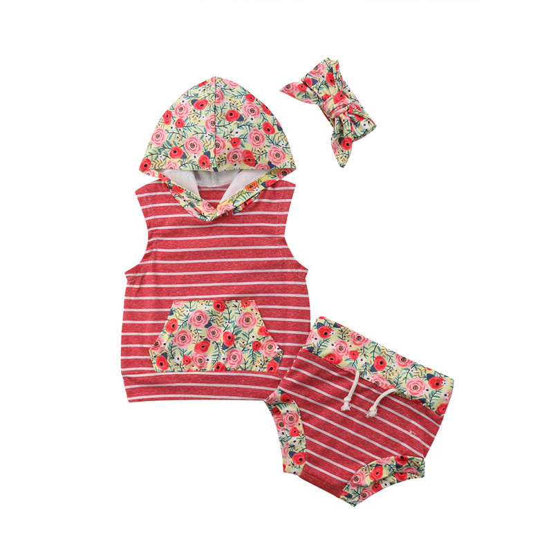 2Pcs Infant Baby Girl Boy Striped Clothes Set Hooded Sleeveless Tops T-Shirt Shorts Pant ...