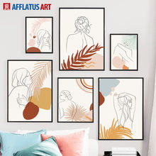 Abstract Girl Line Drawing Plant Leaf Wall Art Canvas Painting Nordic Posters And Prints Wall Pictures For Living Room Decor(China)