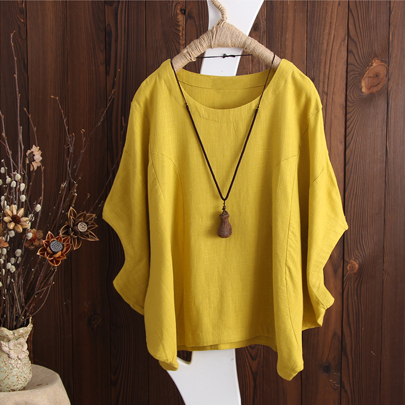 SCHMICKER 2018 Plus Size Short Batwing Sleeve Party Blouse Summer Women Casual Solid O Neck Cotton Linen Baggy Basic Tee-Shirts