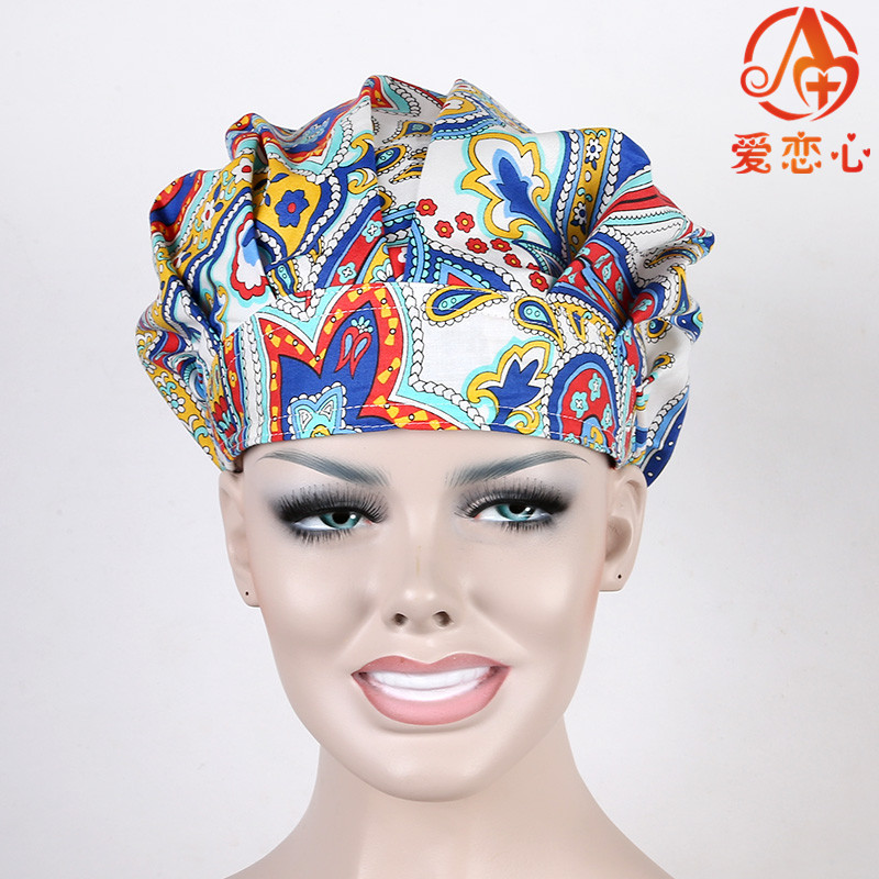 Ai Lianxin women Surgical bouffant caps doctors and nurses cap with printed cotton materical ALX-155 ai lianxin surgical bouffant caps one size adjustable animal forest alx 192