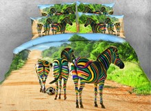 3D Colorful Zebra Bedding set Animal print quilt duvet cover bedspreads bed sheet linen Super King size Queen full twin 4PCS 3d cat designer bedding set quilt duvet cover bed sheet linens bedspreads animal print super cal king size queen full twin 4pcs