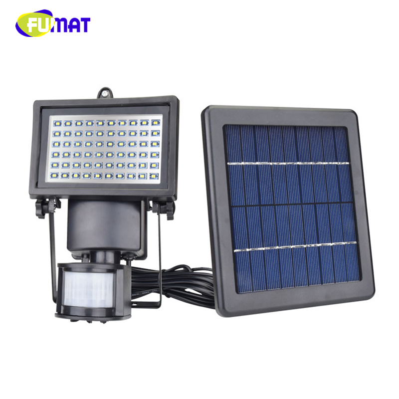 FUMAT LED Solar Lamp Waterproof 60pcs LED PIR Motion Detector Door Wall Light Outdoor IP65 Lights