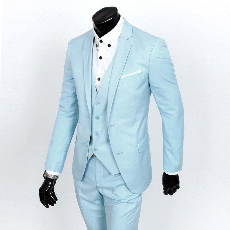 2019 nueva llegada terno masculino, trajes casuales de negocios para hombres, trajes de dos piezas chaqueta + Pantalones, blazer ajustado vestido de boda Formal-in Trajes from Ropa de hombre    1