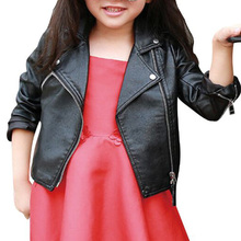 2016 High Quality Fashion Baby Girls Zipper Faux Leather Black Coat Kids Trendy Tops Outwear Autumn Winter Baby Infant Clothes
