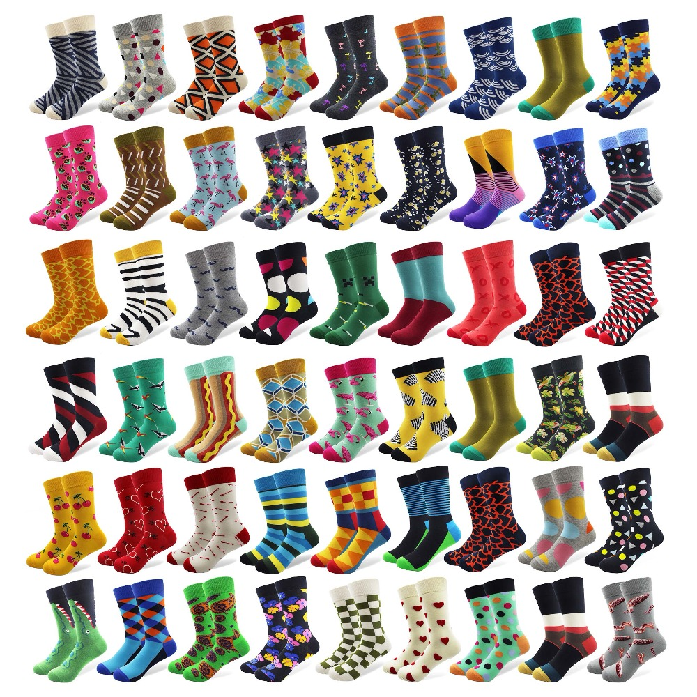 100 Pairs/lot Wholesale Men Colorful Striped Cartoon Combed Cotton Socks High Quality Crew Wedding Casual Happy Funny Sock Crazy