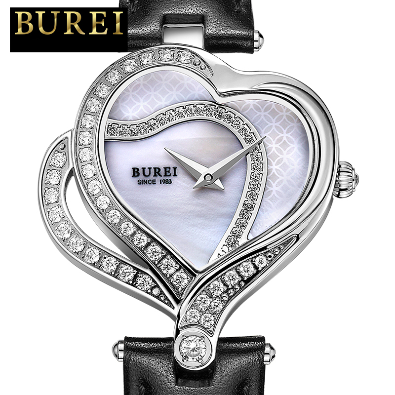 ФОТО Women Watch BUREI Original 2016 Unique Design Heart Shape dial Clock Fashion Casual Ladies Dress Pocket Wristwatches Hot Sale