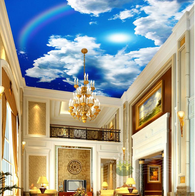 Photo Wallpaper Large White Clouds Sun Rainbow 3D Ceiling Living Room Bedroom 3D Mural Wallpaper For Wall Home Decor Ceiling blue sky and white clouds ceiling murals wallpaper living room bedroom hotel 3d ceiling wallpaper background