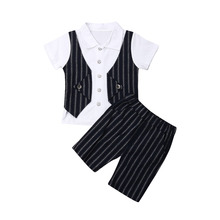 Pudcoco Summer Infant Clothing Boys Baby Clothes Set Gentleman Suits Vest T-Shirt Shorts Toddler Clothes Boys 0-4Y