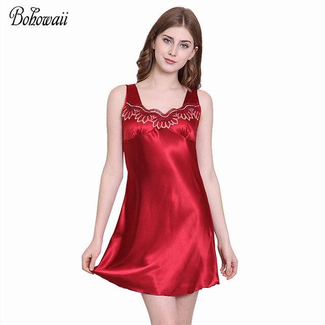 c28df41d027 Fall Breathable Soft Silk Night Gown Dress Women Plus Size Sexy Sleep Wear  Silky Lace Koszula