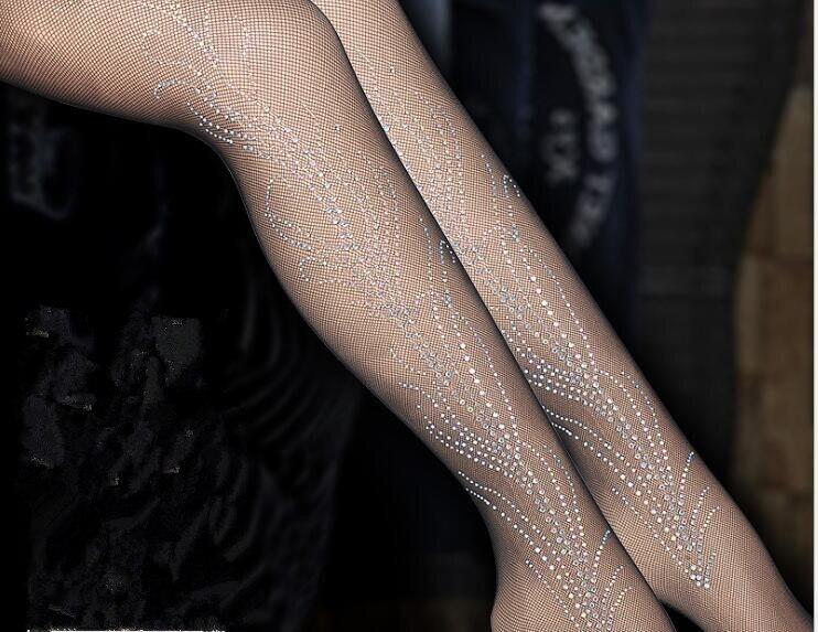 b04899ea6a2ff Women's Sexy Sparkle Rhinestone Sheer Stockings Pantyhose Black Dancer  Performance Tights Free Shipping