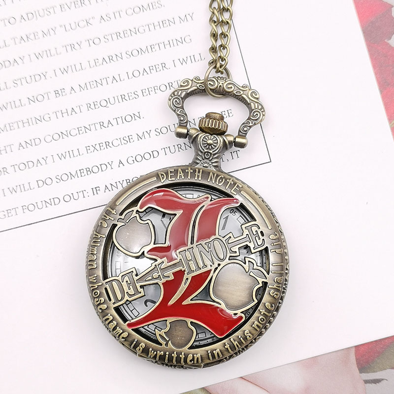 Death Note Vintage Pocket Watch Roman Number Dial Men Copper Cool Steampunk Necklace Fashion Fob Watch Japan Anime