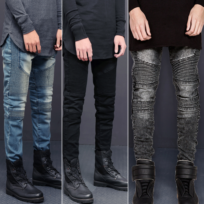 Europe and the United States Fashion Pants Stretch Slim Jeans Tide Men Fold Feet Pants Large Size Mens Jeans