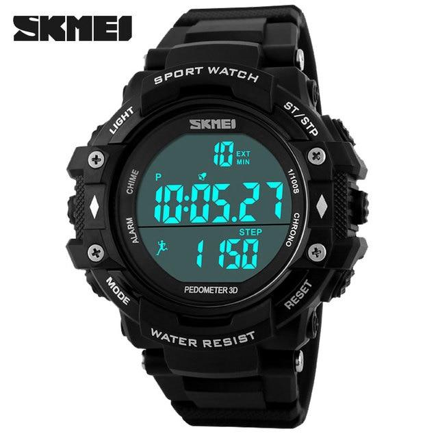 2016 New SKMEI Popular Brand Men Military Sports Fashion Pedometer Watches Digital LED Sport Watch Men Wristwatches Clock Reloj
