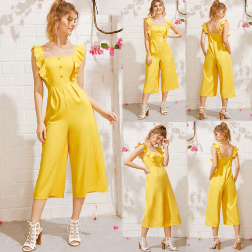 Arrival Women Solid Ruffle Trim Covered Button Loose Style Comfortable Long Jumpsuit Cardigan Body Casual Wide Leg Pants Cloth