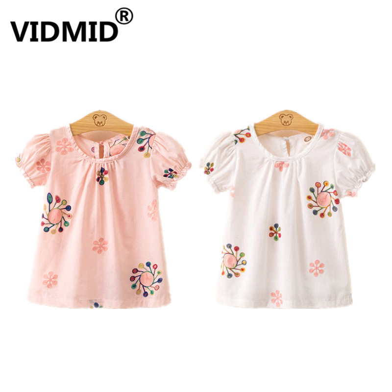 VIDMID Girls Summer T-Shirt Girls Tops Embroidery Flower Print Casual T-shirts Clothing Kids Cotton Short Sleeve Tops 7071 21