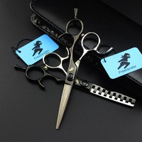High end hairdressing scissors black and white enamel scissors high end quality Japan 440C barber shop essential scissors