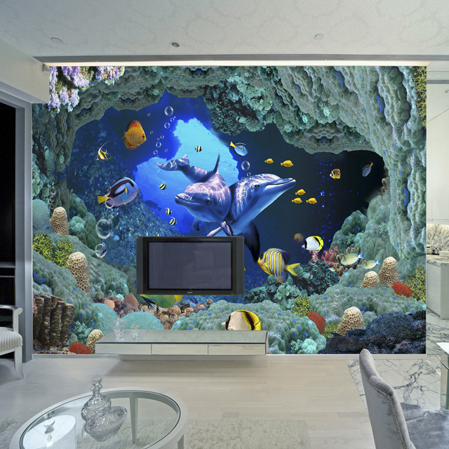 3D Underwater World Wall Mural Cartoon Dolphin Photo Wallpaper For Kids  Custom Children Room TV Sofa Part 48