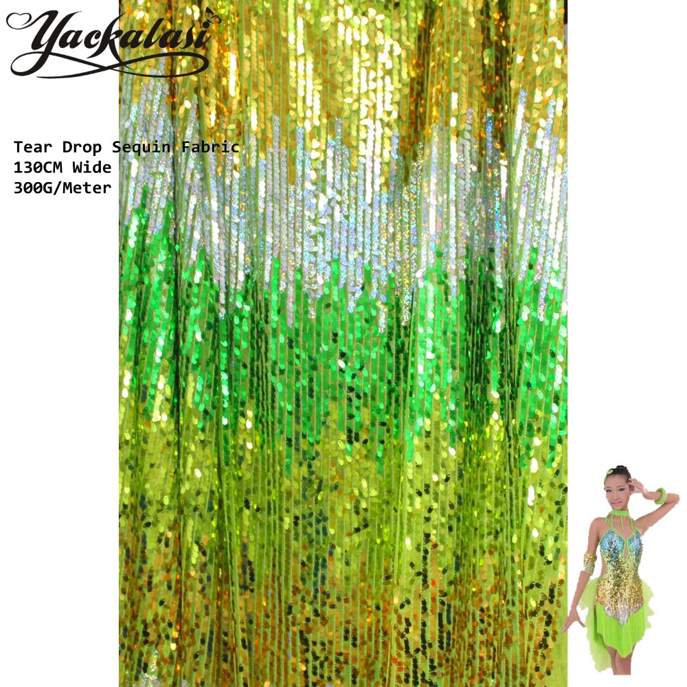 Sparkly Sequined Lace Fabric Různé barvy Stripe Full Cover na Mesh Tear Drop Paillette Výšivka Glamorous Table Cloth 130CM