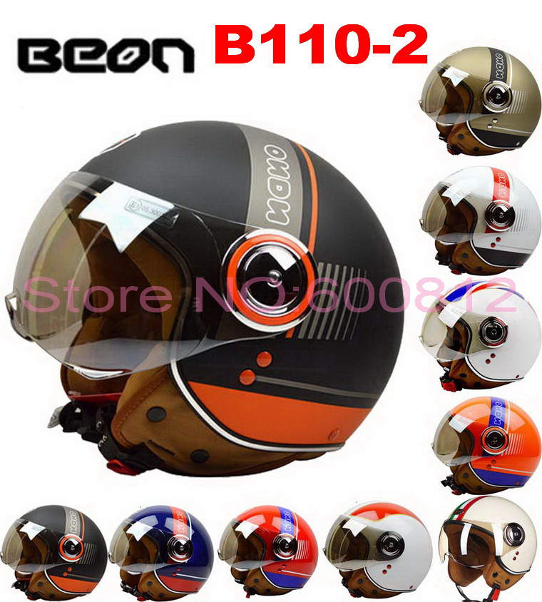 BEON motorcycle helmets Half face Halley style Prince motorbike Helmet mad of ABS have 10 kinds of color B110-2 for unisex 2017 summer new half face beon child motorbike helmet abs b 103etk children motorcycle helmets for boys girls for four seasons