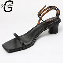 GENSHUO Vintage Square Toe Sandals Women Narrow Band Low Heel Women Sandals Fashion Slip on Ankle Strap Summer Beach Sandals(China)