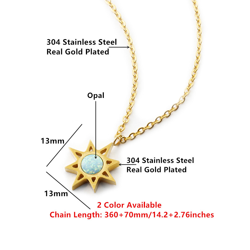 Fashion North Star With Blue Fire Opal Stone Necklace For Women Men - Fashion Jewelry - Photo 2