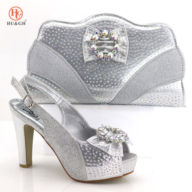 New Arrival Silver Color Italian Shoes with Matching Bags African Nigerian Women Party Shoes and Bag Set Italian Wedding Sandal new arrival silver color italian shoes with matching bags shoes and bag set african sets 2018 shoe and bag for wedding party