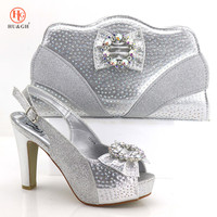 New Arrival Silver Color Italian Shoes with Matching Bags African Nigerian Women Party Shoes and Bag Set Italian Wedding Sandal