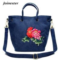 Fashion Tote Bags for Women 2018 Crossbody Bag Blue Canvas Handbags Ladies Shoulder Bags Flower Embroider Women Messenger Bags