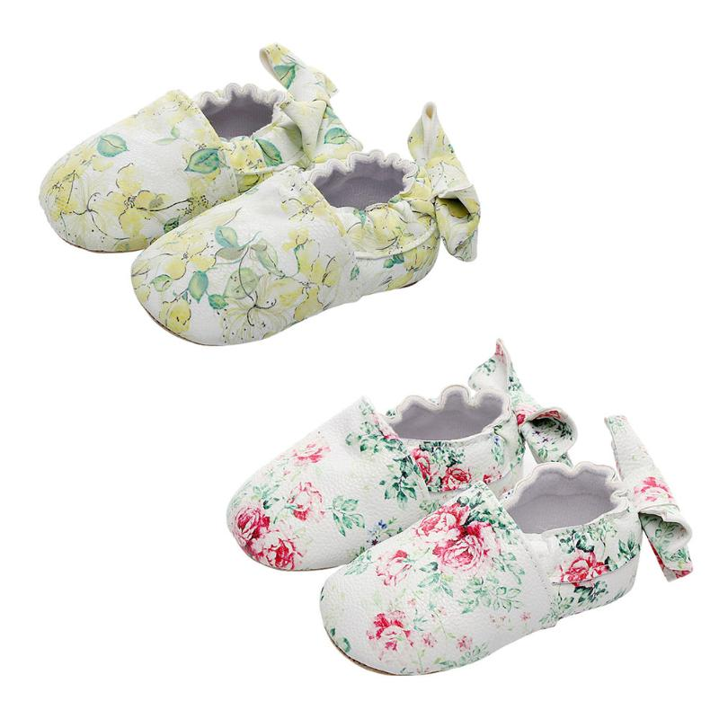 2018 Spring Baby Moccasins Unisex Boy Girls Shoes Floral Print Bownot Toddler PU Leather Soft Bottom Shoes Newborn First Walkers